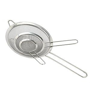 CHICHIC Set of 3 Stainless Steel Kitchen Fine Strainers Tea Fine Y Mesh Strainers Juice Egg Filter 3 Sieve Colander Sets… |