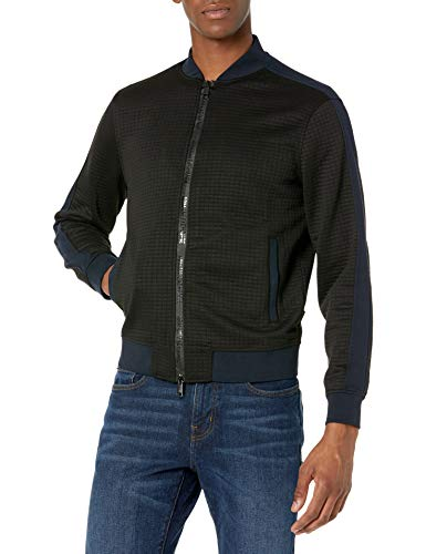 A|X Armani Exchange Men's Jaquard Zip Up Bomber Jacket, Black/Navy, L