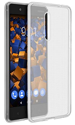 mumbi Hülle kompatibel mit Nokia 8 Handy Hülle Handyhülle dünn ultraslim transparent schwarz
