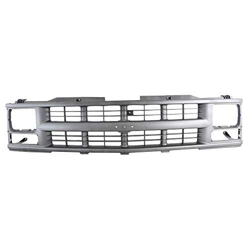 Perfit Liner New Front Argent Grille Grill For 94-02 GMC Chevy Chevrolet C/K 1500 2500 3500 Pickup Blazer Truck Tahoe Suburban SUV W/Sealed Beam Head Lamp GM1200358 15709236