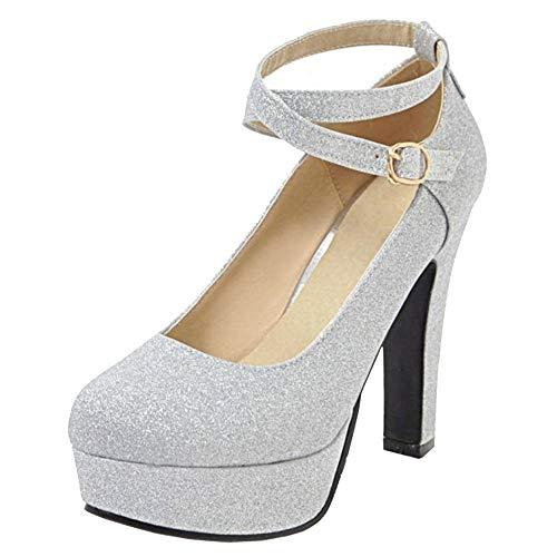 CularAcci Donna Moda con Cinturino alla Caviglia Tacco Alto Pumps Plateau Scarpe Silver Size 40 Asiatico