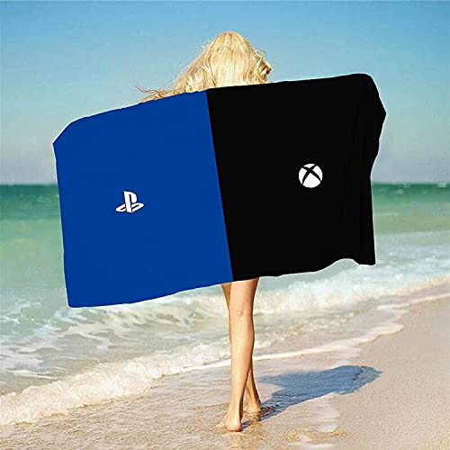 QWAS Playstation 5 - Toalla de playa para PS5, impresión 3D, muy suave y cómoda, ligera y transpirable, el favorito del juego (A02,100 cm x 200 cm)