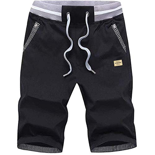LTIFONE Men's Casual Shorts Slim Fit Drawstring Summer Beach Shorts with Elastic Waist and Pockets(Black,M)