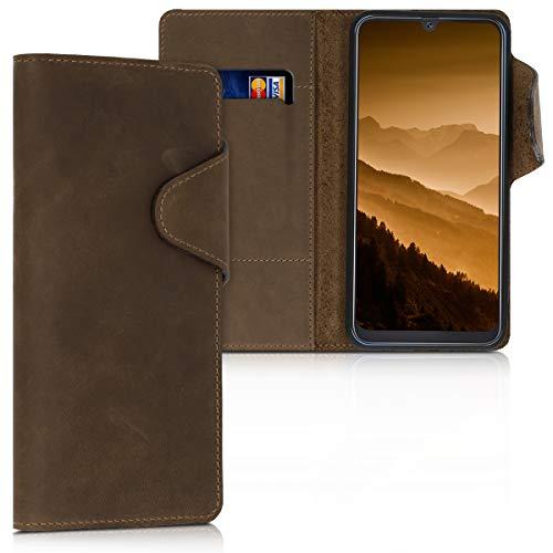 kalibri Wallet Hülle kompatibel mit Samsung Galaxy A50 - Hülle Leder - Handy Cover Handyhülle in Braun