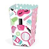 Big Dot of Happiness Spa Day - Girls Makeup Party Favor Popcorn Treat Boxes - Set of 12