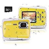 Wasserdichte Kamera für Kinder (bis 3 Meter) , Unterwasser Kinderkamera Camcorder HD720p 12MP Digital Sportkamera mit 8 GB Speicherkarte, 2.0 '' LCD-Bildschirm, 8X Digital zoom, Flash Mic (Gelb) -