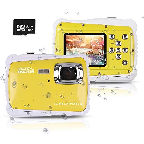 """PROACC Cámara Impermeable para niños, Digital Mini Cámara con Zoom Digital de 8X / 12MP / 2"""" TFT LCD/8 GB Micro SD, cámara Infantil Impermeable 3m (Amarillo)"""