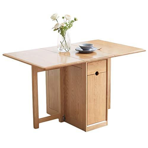 ZAT Rettangolare Oak Tavolo Pieghevole, Tutto in Legno Massiccio Tavolo da Pranzo Multifunzione Computer Scrivania con 3 cassetti