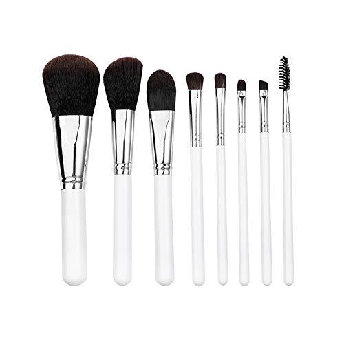 Pinceaux de maquillage, ensemble d'outils Ombre à paupières Blush Blending Cosmetic Kit 8pcs Makeup Brush Set Professional (White)