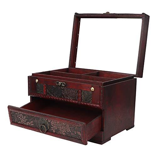 Jopwkuin Caja de joyería, con Espejo Caja de Almacenamiento de baratijas Almacenamiento Elegante para Collares con Pendientes
