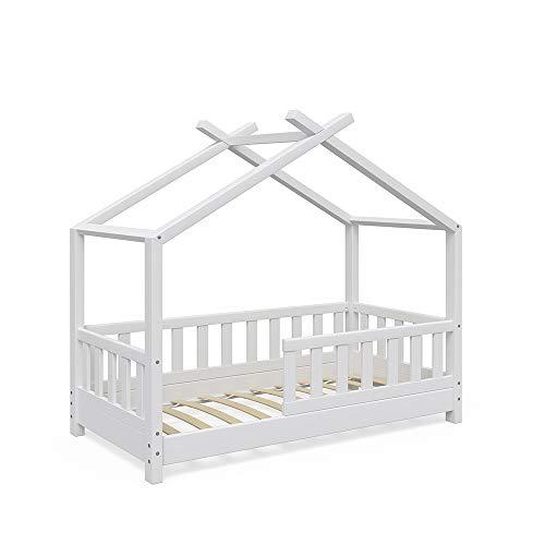 VitaliSpa Design Kinderbett Hausbett Kinderhaus Bett Massivholz Holz Holzbett Kinder 70x140cm Weiß