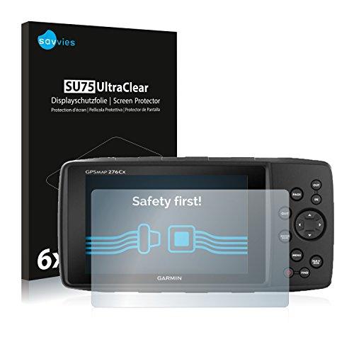 savvies Protector Pantalla Compatible con Garmin GPSMAP 276Cx (6 Unidades) Pelicula Ultra Transparente