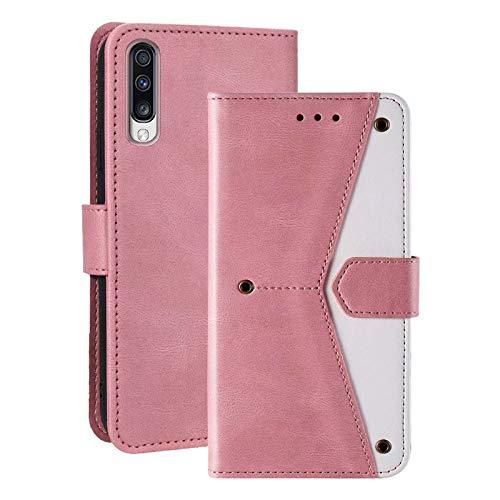 Misstars Hülle für Galaxy A70, Premium PU Leder Flip Case Tasche Brieftasche Schutzhülle mit Standfunktion & Kartenfach Magnetverschluss Handyhülle für Samsung Galaxy A70, Roségold