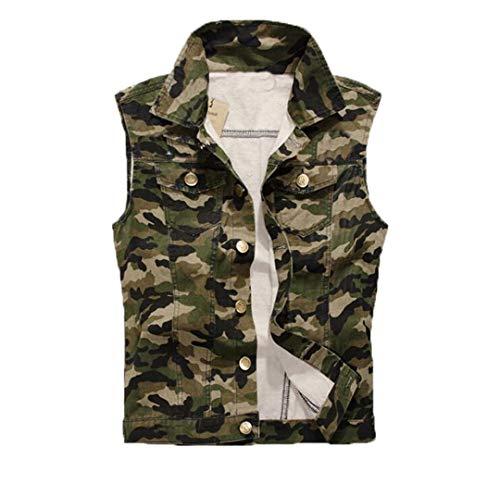 Chaqueta de Mezclilla sin Mangas Militares Camuflaje para Hombre Chaleco de Mezclilla para Hombres Casuales Camouflage XL 170