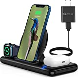 Wireless Charger Wireless Charging Station for Multiple Devices 3 in 1 Magnetic Charging Base for Phone, Watch and Headphones – Compatible with Apple Products – Convenient and Practical - Black