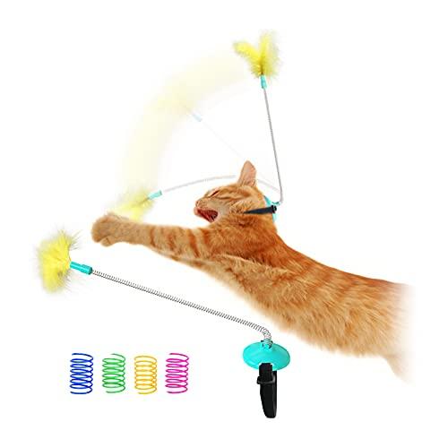 FuninCrea Giocattolo a Molla per Gatti, Giocattolo di Allenamento per Gatti Montato sulla Testa per Tenersi in Forma Gioco Durevole per Gattini Giocattolo con Piume di Gatto (Blu)
