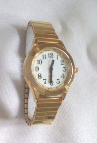 Lady's Talking Alarm Watch Gold Tone Time,Month,Date,Day for Low Vision or Blind