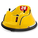 Kidzone Race #00-99 Kid Ride-on Bumper Car 6V Electric Power Remote Control 360 Degree Spinning Toy ASTM-Certified, Yellow