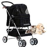 Foldable Pet Dog Stroller Cat Stroller 4 Wheels Jogger Stroller, Travel Puppy Stroller with Weather Cover,Storage Basket and Cup Holder for Small Medium Dog, Black