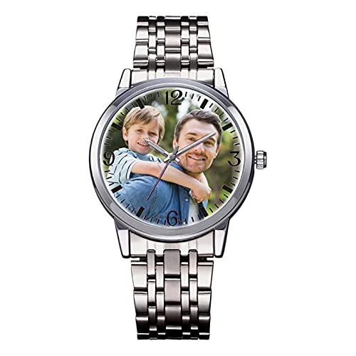 Reloj De Regalo Personalizado para El Día del Padre Reloj con Foto Personalizado con Nombre Reloj De Aleación Cumpleaños Graduación Recuerdo para Padres Pareja (Reloj para Hombres)