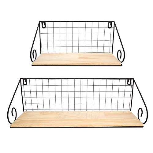 Wandplank, 2 stuks houten plank ijzeren frame muur opknoping plank opbergrek organisator home decor ornament(Zwart)