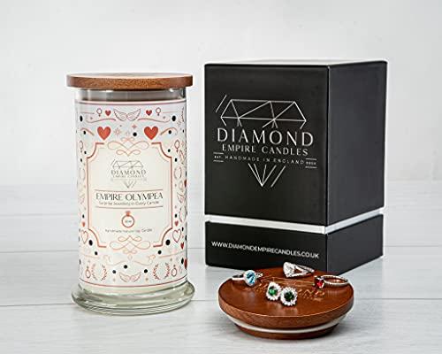 Diamond Empire Vela Olympea con joyas sorpresa en el interior (joyas sorpresa de hasta 2.500 £) 2 mechas velas (quemaduras hasta 120 H) (anillos, P/Q)