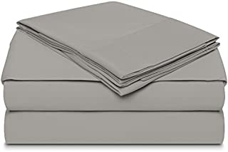 Dream Castle Linens 400 Thread Count 100% Extra-Long Staple Combed Cotton Sheet Set, Smooth Sateen Weave, 4 Piece Sheet Set, KING Sheets - Bestseller, Deep Pockets, Luxury Bedding, PEWTER by