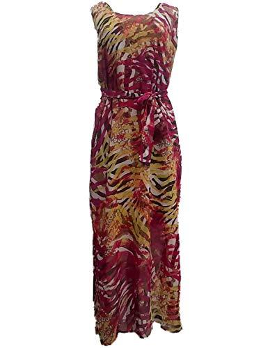 Amanda Lane Inc. Womens Green Magenta Zebra Tiger Print Opaque Tank Top Maxi Dress