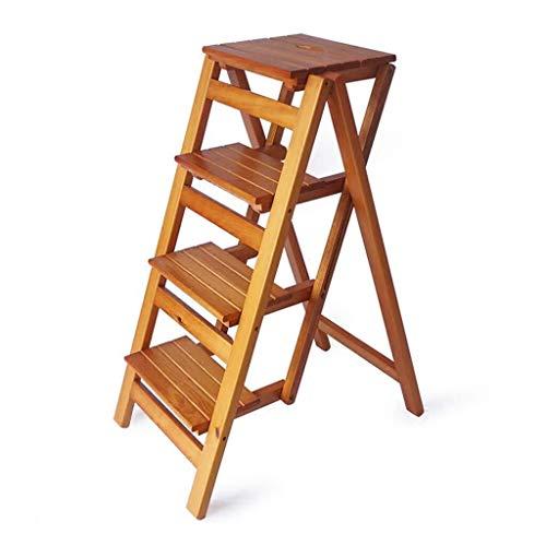 DNSJB Opvouwbare ladder met 4 standen, barkruk, draagbare huishoudtrap krukken, uit-eten, houten traptreden voor kinderen en volwassenen, gereedschap voor de hoofdtuin, hoog- en diepbouw, Max Wal