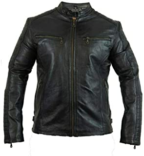 Men's Biker Motorcycle Leather Jacket with Protectors Quilted Retro