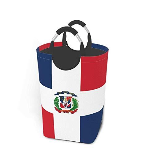 NOBRAND Cesta de lavandería Grande de 50L, Bandera de República Dominicana Cestas de Ropa Plegables con Asas de Aluminio Bolsa de Ropa Sucia Plegable