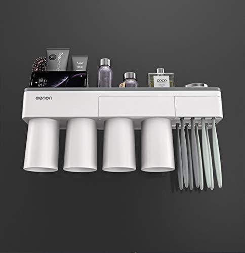 New Calistouk Soporte Cepillo de Dientes adsorción magnético Accesorios baño Estante Almacenamiento de Pasta de Dientes (4 Tazas sin Dispensador de Pasta)