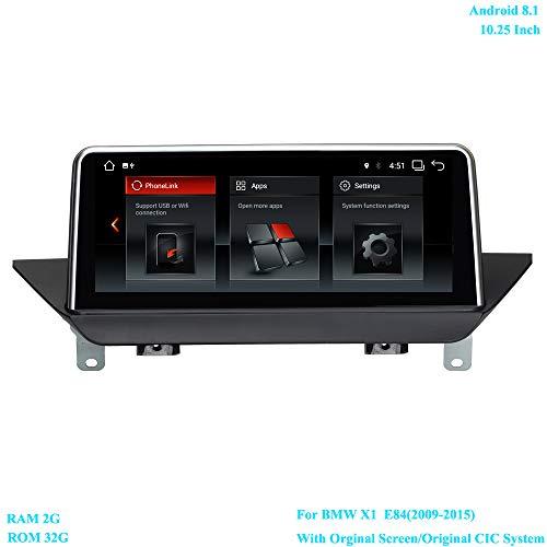 XISEDO Android 8.1 Autoradio 10.25 Pouces Écran 6-Core RAM 2GB ROM 32GB Car Radio Système de Navigation GPS pour BMW X1 E84 (2009-2015) avec écran Orginal/Système CIC d'origine
