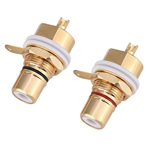 Tosuny 2 Piezas Conectador del Enchufe de RCA Hembra Jack de Cobre para amplificadores, Tipo de Soldadura, Panel Hembra RCA Montaje Hembra Terminal Chapado en Oro Conector de Audio