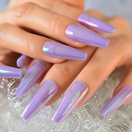 EchiQ Chrome Lavender Purple Press On Fingernails Unicorn Holo Fake Nails Extra Long...