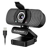 ELEGIANT Webcam 1080P Full HD avec Microphone Stéréo Caméra Web pour Chat Vidéo Skype Youtube Enregistrement Compatible avec Windows Mac et Android