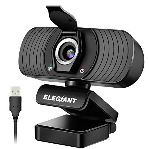 ELEGIANT Webcam Web Camera 1080P HD PC Webcam con Microfono e Cover per la Privacy Fotocamera per Computer USB per Skype FaceTime Youtube Studio Online Chiamata PC da Gioco Laptop Desktop