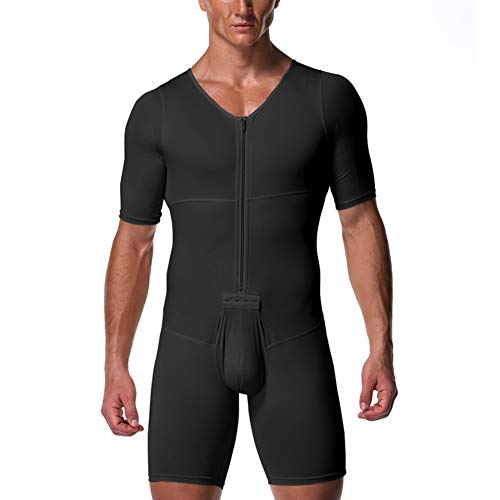 MISSMAO Herren Body Bodysuit Einteiler Kurz mit Reissverschluss Overall Slim Fit Männerbody Kurzarm Unterhemd Boxershorts Unterwäsche Schwarz 4XL