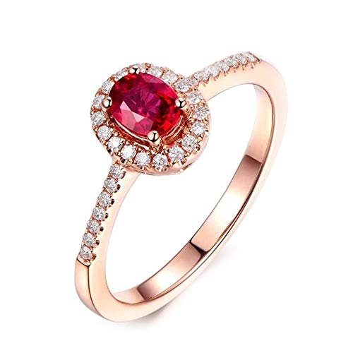 Dreamdge Women Eternity Ring 18K Gold Oval Ring, Red Tourmaline Diamond Ring 0.45ct Size J½