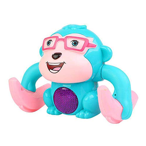 QJJ Electric Tumblbling Little Monkey Somersault Soundling Sound and Light Boy Baby Baby Puzzle Puzzle Juguete de los niños (sin batería) (Color : Blue)