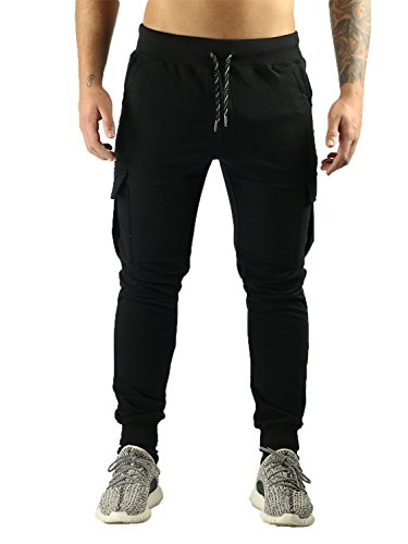 Deadstock Trackpants in biker jeans look – lange zwarte joggingbroek voor mannen en heren, regular fit