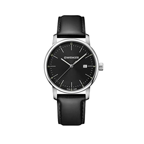 Wenger Hombre Urban Classic - Reloj de Acero Inoxidable/Cuero de Cuarzo analógico de fabricación Suiza 01.1741.110