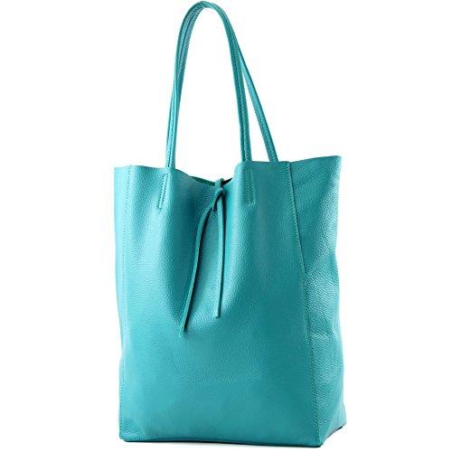 modamoda de - Ital. bandolera de cuero compradores T163, Color:azul turquesa