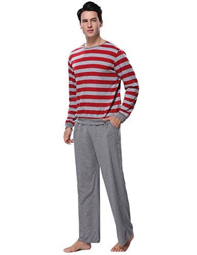 Aibrou Herren Schlafanzug Pyjama Lang Gestreift Winter Baumwolle Nachtwäsche Langarm Rundhals (Large, C-Rot)