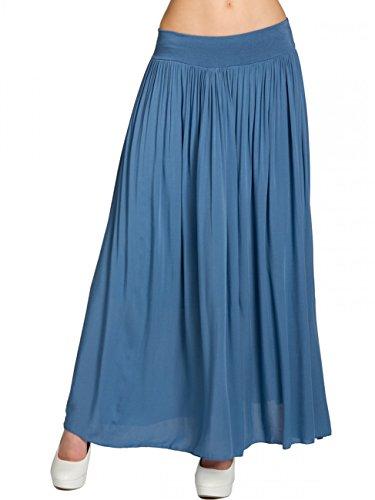 Caspar RO012 Falda Plisada de Verano para Mujer Falda Larga Casual, Talla:Talla Única, Color:Azul Vaquero