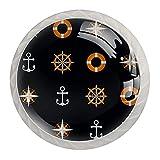 Marine Beach Compass Anchor Pattern 4 piezas Set de armarios redondos pomos de muebles, cajón, aparador, armario, tiradores para el hogar y la cocina