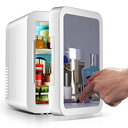 DCLINA Maquillaje Nevera con Espejo LED,Mini Refrigerador del Refrigerador/For Cosméticos para Maquillaje Y Cuidado La Piel, Casa Bar-8L