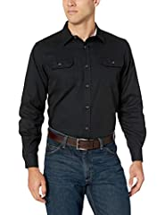Long-sleeve woven shirt with button front featuring button-through flap chest pockets