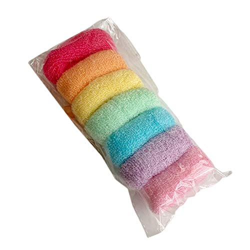 Ixkbiced 7Pcs Arco Iris Color Caramelo Toalla Scrunchies Lazos elásticos para el Cabello Cuerda Cola de Caballo Titular