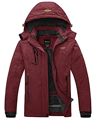 Wantdo Women's Snowboard Jacket Warm Fleece Ski Coat Waterproof Wine Red Large